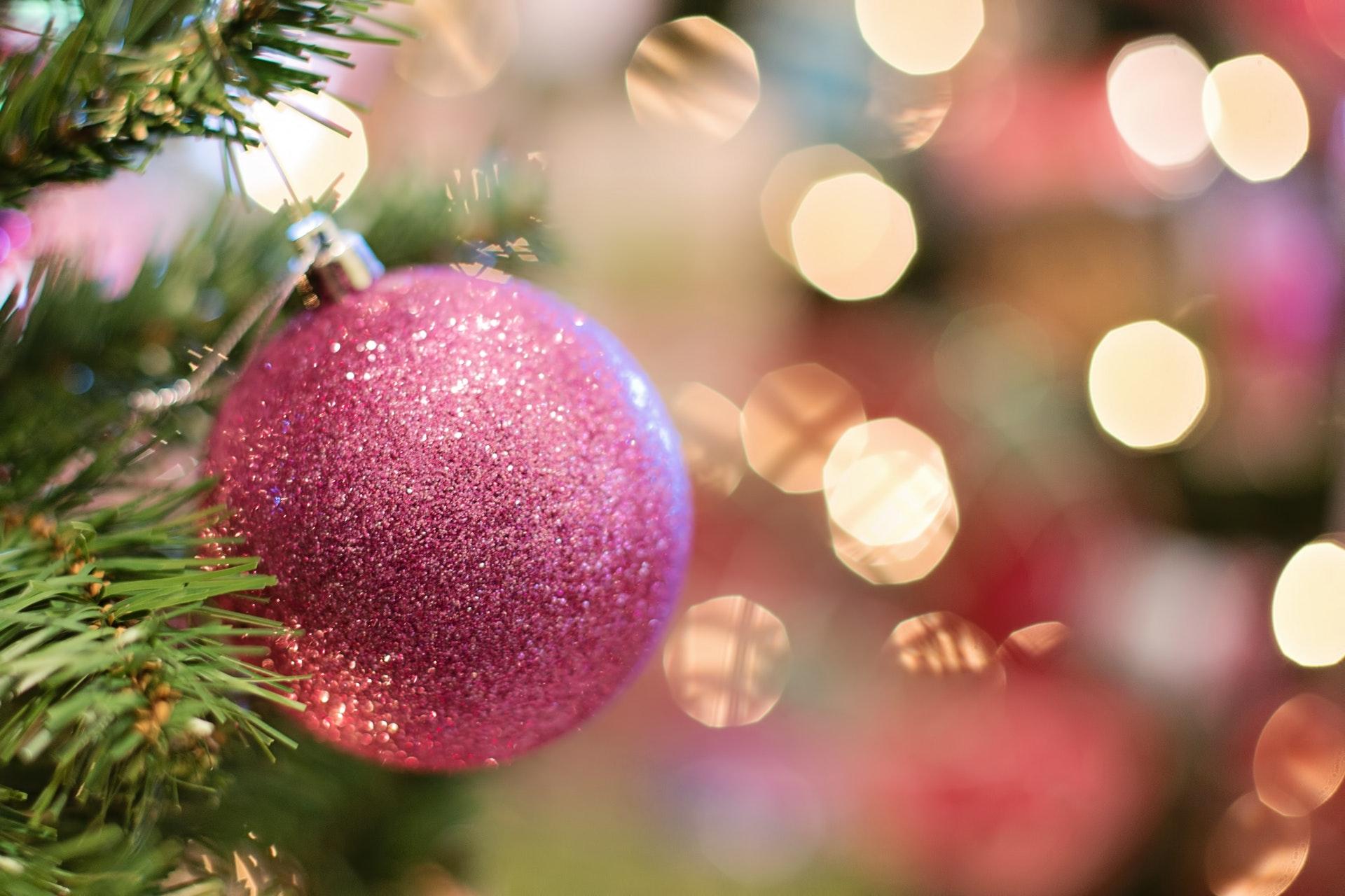pink glitter ornament