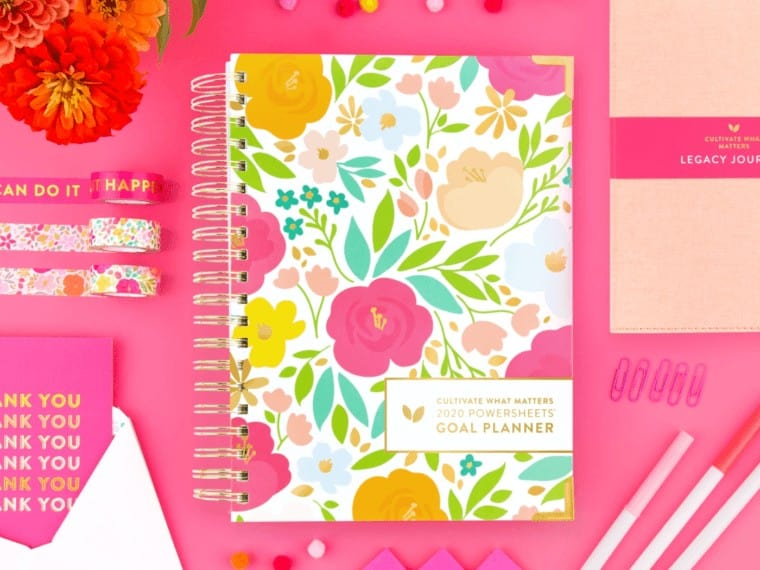 goal planner in pink workspace