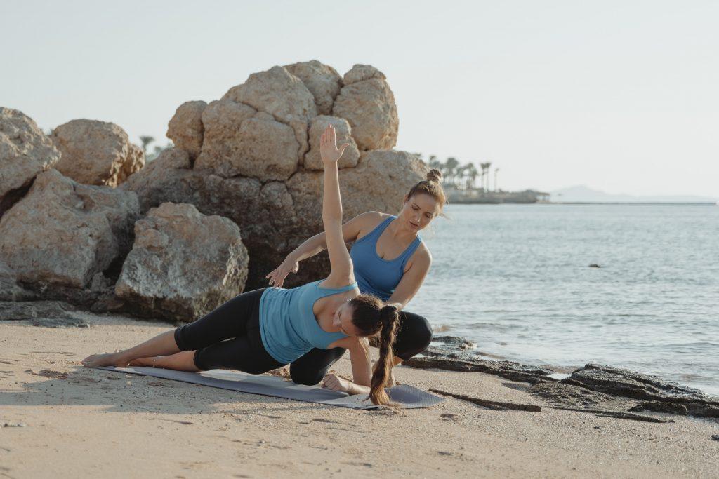Image of women doing yoga.