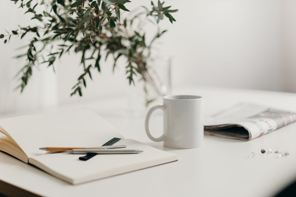 Image of desk and paper planner