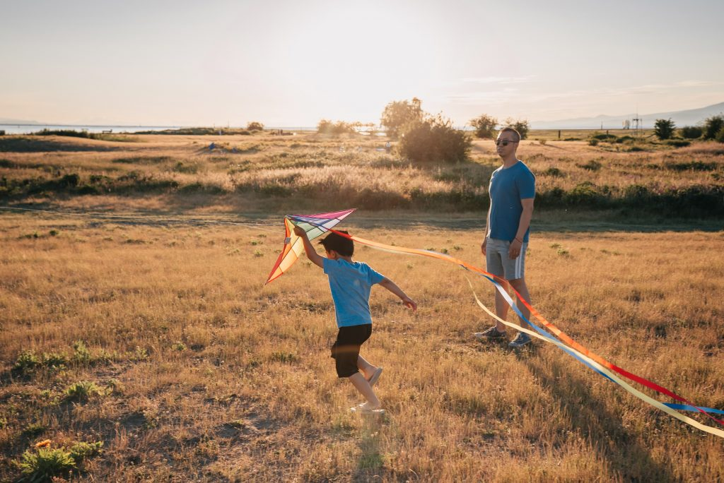 image of dad and son flying kite